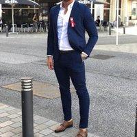 أزياء أنيقة الأزرق الزفاف البدلات الرسمية الرجال الدعاوى يتأهل ذروة التلبيب الحيor الأب خياط صنع رفقاء السترة (سترة + بانت الرجال الحلل