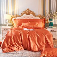 2021 New Arrival European-style Solid Color Bedding Sets Silk Satin Bed Fitted Sheet 4 Pieces Duvet Cover