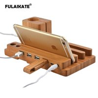 Cell Phone Mounts & Holders FULAIKATE Bamboo Wood Charging Stand For X Desk Holder Smart All Tablet PC Mobile 4 USB Ports Dock