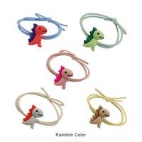 Aleatório cor de borracha de borracha bonitinho pequeno dinossauro anel de cabelo alto elástico corda menina mulher acessórios clipes barrettes