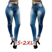 Women's Jeans Blue Autumn Sexy Long Pants Women High Waist Denim Slim Ripped Pencil Ladies Casual Skinny Jean S-XXL Pokets Button