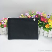 black cotton canvas makeup bag with silver zip little heart puller7*10in free ship by DHL direct from factory