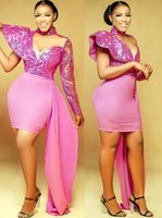 2021 Plus Size Arabic Aso Ebi Stylish Lace Sexy Prom Dresses Sheath Chiffon Short Evening Formal Party Second Reception Bridesmaid Gowns Dress ZJ506