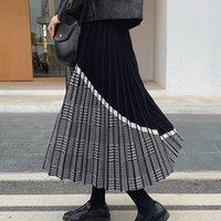 Bygouby noble jacquard maille jacquard jupe tricoté élastique taille haute maxi maxi jupes automne hiver épais épaisses djugées plissées plissées