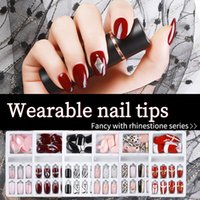 24pcs set with Designed Crystal False Nail Artificial Tips Set Full Cover for Decorated Short Press On Nails Art Fake Extension Tip 1321