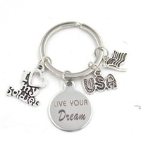 New Arrival Stainless Steel Key Chain Key Ring USA Flag I Love my Soldier Keychain Keyring Soldier Gifts for Men Women Jewelry DWD6553