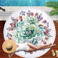 Towel 3D Green Plant Cactus Round Beach Microfiber Succulents Bath Tassels Serviette De Plage Travel Yoga Mat