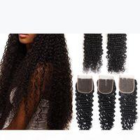 Brazilian Deep Wave Curly cabelo trama 2 pacotes com fecho de renda 4x4 cabelo humano 8-28inch profundo onda de profundidade dupla trama ondulada pacote de cabelo 3 pcs lote