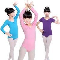 Children ballet dance uniforms kids Performance clothing girls back bow short sleeve ballet uniforms Kid Child Dance Costume 2363 Q2