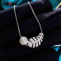 OEVAS 100% 925 Sterling Silver Sparkling High Carbon Diamond Feather Lab Grown Pearl Pendant Necklace Women Party Fine Jewelry