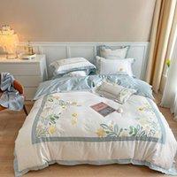 Ricamo floreale di lusso 100s Set di biancheria da letto in cotone egiziano Set Queen King Duvet Cover Biancheria Biancheria da letto Linen Fodera Set tessili per la casa