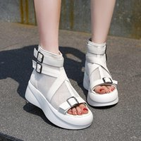 Sandals Black White Platform Women Buckle Thick Sole Summer Breathable Mesh Open Toe Zapatos Mujer 2021