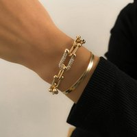 Charm Bracelets Fashion Snake Chain Gold Color For Women Crystal Bangle Bracelet Set On Hand Accessories Jewelry