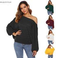 Fuera del hombro sexy suéter para mujer 2021 invierno simple casual versátil una palabra collar linterna de manga larga color sólido tops sueltos