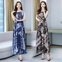 dresses Your lady's travel temperament floral women's summer waist round ne short sleeve very fairy big ice silk