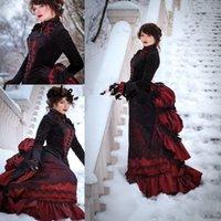 Vintage Black Burgundy Gothic Wedding Dresses Long Sleeve Victorian Walking Costume Bustle Skirt and Velvet Jacket Bride Gowns