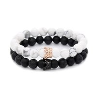 8mm Natural Stone Strands Bracelets CZ Micro Pave Crown King Queen Beads His and Her Couple Bracelet