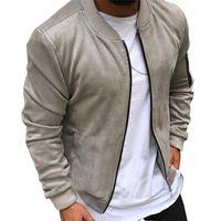 Tela de gamuza de los hombres al aire libre con cremallera de invierno con cremallera de abrigo caliente de la chaqueta Outwear de la chaqueta delgada masculina Outwear Color sólido con estilo masculino con estilo