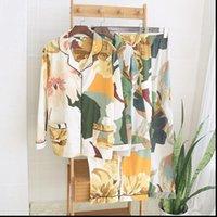 Листья напечатаны Pajamas набор женщин спящие одежды весна летнее хлопок с длинным рукавом ночи женская домашняя одежда плюс размер вскользь две части