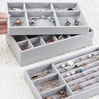 Jewelry Pouches, Bags Fashion Drawer Velvet Organizer Tray Ring Bracelet Gift Box Jewlery Storage Earring Holder Display Case
