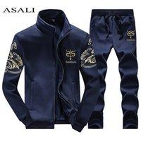 Asali 2021 мужская спортивная одежда костюм костюм костюм спортивный спортивный спортивный костюм без капюшонов Мужские повседневные активный костюм на молнии на молнии 2шк куртка + брюки наборы X0610
