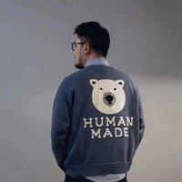 2021 Human Fabriqué Polar Bear Pull tricoté Automne Hiver High Street Mode Hommes Femmes Pull à capuchon Sweat-shirt J7qo #
