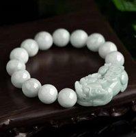 Natural Burmese Jadeite Pixiu Good Luck Beaded Bracelet Free Ship ping