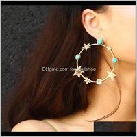 & Hie Jewelrysrcoi Bohemia Round Green Stone Star Hoop Gold Sier Color Big Circle Exaggerated Pentagram Earrings Women Trendy Gift1 Drop Deli