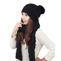 Hats, Scarves & Gloves Sets Winter Womens Lady Warm Knitted Beanie Hat Scarf Set Girls Outdoor Skullies Caps Bonnet Wool 2021