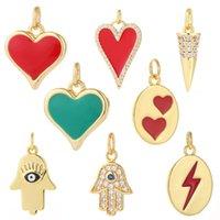 Encantos colgante de corazón para joyería que hace suministros oro bricolaje pendiente pulsera collar de cobre circón accesorios