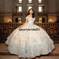 Celebrity Sukienki Blue Quinceanera Dresses Flower Lace Applique Vestidos De 15 Anos Sweet 16 Corset Dress