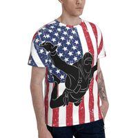 Men's T-Shirts Promo Baseball Skydiving Parachuting USA Flag T-shirt Men's T Shirt Print Humor Graphic R333 Tops Tees European Size