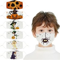 Halloween Printed children's cotton cloth masks student dust and haze mask can be washed PM2.5