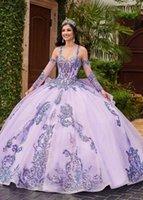 2021 Sparkle Sequin Lavande Quinceanera Robes Robes à billes À Doubles sangles avec manches détachables et robe de soirée formelle de promenades pour Sweet 15 Girl