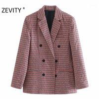 ZEVITY Yeni Kadın Vintage Ekose Baskı Çentikli Yaka Retro Blazer Ofis Bayan Kruvaze Streetwear Suits Dış Giyim Tops CT6081