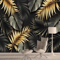Wallpapers Custom Nordic Jungle Banana Leaf Wall Papers Home Decor 3d For Living Room Bath Cafe Floor Self Adhesive Murals Roll