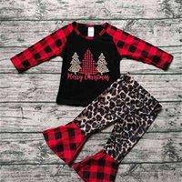 Christmas Xmas Tree Pyjamas Set Enfants Filles Classic Buffalo Blouse à carreaux Pull Sweat à capuche T-shirt Tops et pantalons Flare 2 pièces Tenues de Noël de Noël Vêtements G02WV07