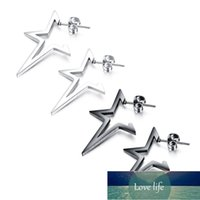 Vintage Punk Stainless Steel Star Stud Earrings For Women Man Black Steel Color Party Ear Jewelry Gift Drop Shipping