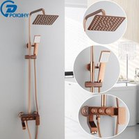 로즈 골드 욕실 샤워 꼭지 세트 블랙 스페이스 알루미늄 8''rainall 머리 3 방향 함수 믹서 탭 세트