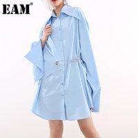 [EAM] Женщины Blue Pin Нерегулярный Большой Размер Длинная Блуза Отворачивает Рукав Свободная подходящая Рубашка Мода Весна Лето 2021 1W48905 Женщины Блузки Рубашки