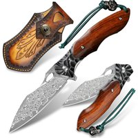 Hand-forged Damascus Steel Folding Knife Pocket Wooden Handle EDC Outdoor Camping Multi-purpose Knives Survival Fishing Cutting Tool Hiking Mountaineering