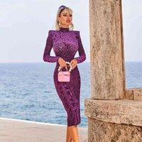 Casual Dresses High street most recent fashion show female designer long sleeve emboss dress in velvet 0NGR