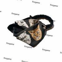 Fashion Cat Stampato Fascia da donna Elegante Satin Cool Headband Cross Design Style Style Trucco per trucco