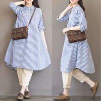 Autumn Plus Tize Fat Mm Medium Longitud Trazo Vertical Camisa de algodón Cáñamo Vestido de mujer Vestido Falda Falda 200 Jin 6987 #