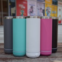 SEA Drinkware Sublimation Powder Coated 20oz Straight Blutetooth Speaker Smart Tumbler Stainless Steel Wireless Intelligent Music Cups with USB Charger Straw Lid
