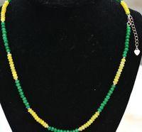 Natural 2x4mm граненый желтый нефритовый изумрудные ронденцеерные бисеры из бисера ожерелье 18 '' цепи