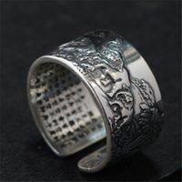Echt 990 Pure Sier Herren Biker Ringe mit Elefant Vintage Punk-Stil Herz Sutra Gravierte Buddhismus Tier Schmuck