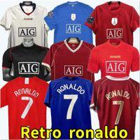 Top 07 08 Manchester Retro Shirts الكلاسيكية خمر Scholes United Ronaldo Soccer Shirt 2007 2008 2009 Man Utd Soccer Shirt Rooney Giggs Maillot De Foot