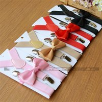 16Colors Kids Suspenders Bow Tie Set para 1-10T Baby Braces Elastic Y-Back Meninos Meninas Acessórios 2277 v2