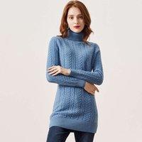 Sweaters100% Pulls de mouton Pull pour femmes Turtle manches longues manches longues tressées élégantes Blouse Tops
